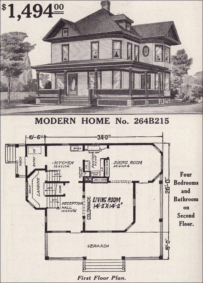 1916 Sears Modern Home No  264B215 - Late Queen Anne - Cross-gable