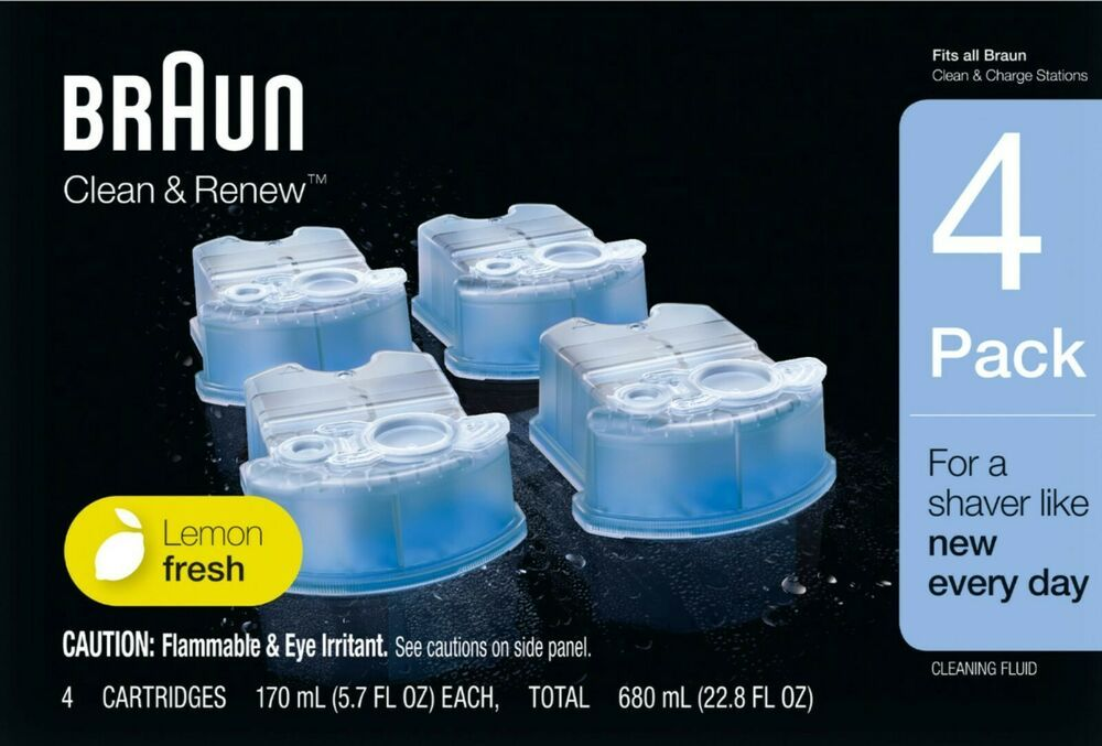 Braun Clean Renew Cleaning System Refill Cartridges 4 Pack Lemon Fresh Ccr4 Braun Clean Renew Shaving Cleaner Lemon Cartridge Refilling Cool Things To Buy Cleaning