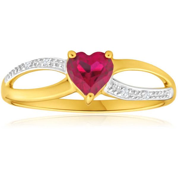 Created Ruby & Diamond Heart Ring 9ct Yellow Gold Shiels