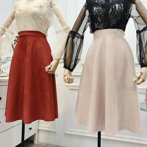 e99404f4a1 Flectit Fall Winter Women Plain High Waisted Suede Midi Skirt Elegant Long  Skirt In Orang Black Camel Beige