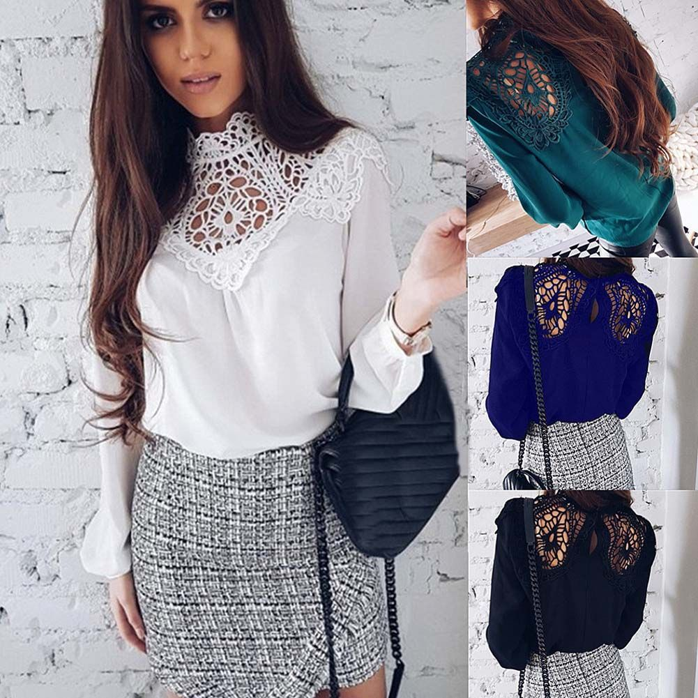 #simplee #elegant #women #white #lace #hollow #chiffon #undershirt #blouse #long #sleeve #office #shirts #chic #top #work #wear #blouses