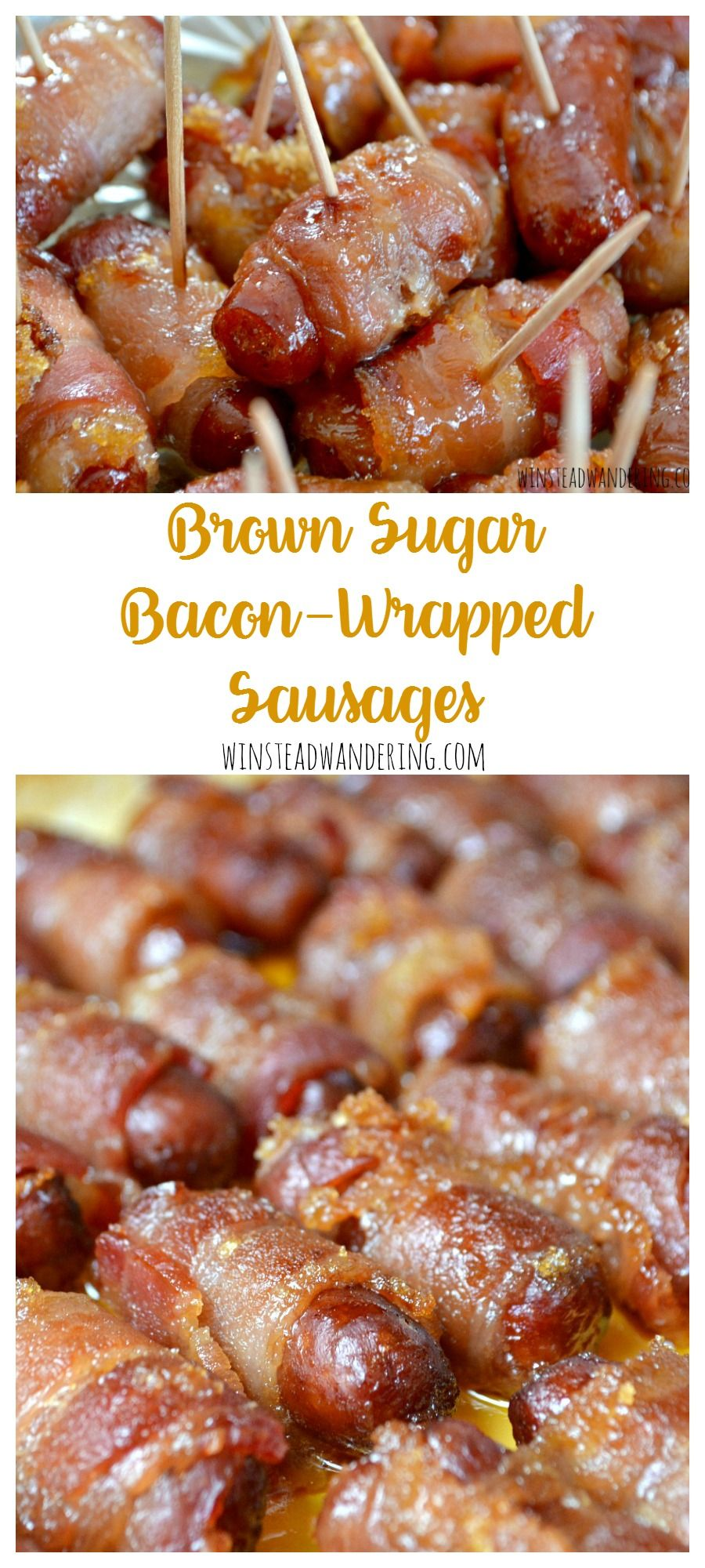 these brown sugar bacon wrapped sausages are seriously like crack theyre sweet savory addictive and perfect for any party youre having
