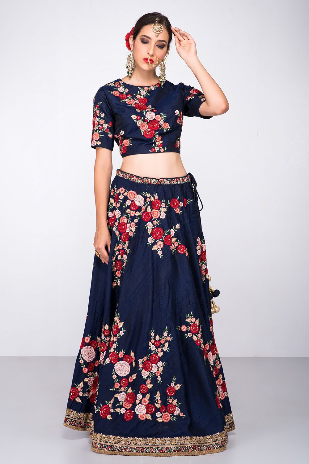 Niyoosh navy blue floral lehenga in bridal u non bridal