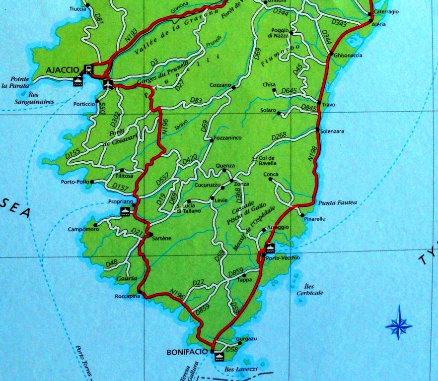 Tourists road map of south Corsica with Bonifacio Corsica France