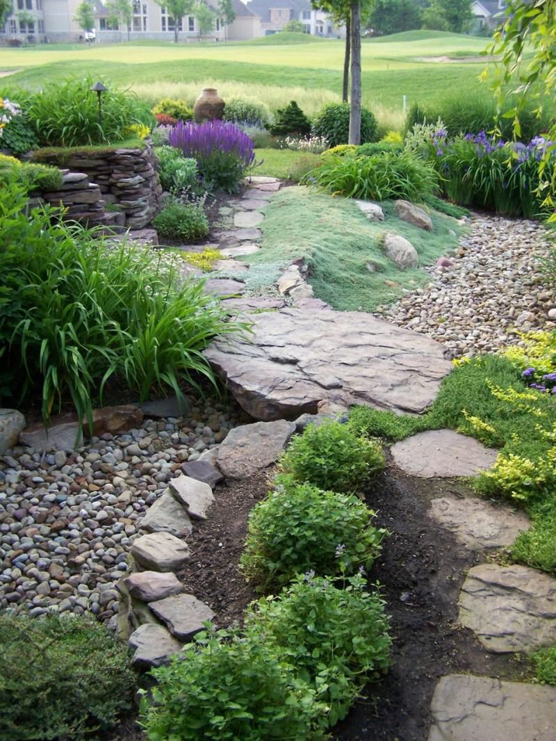 Garden path over the dry creek bed Rock garden