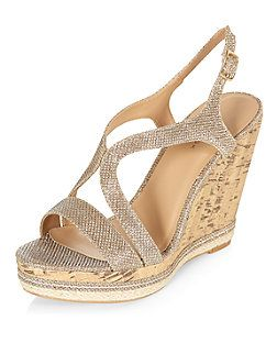 save up to 80% first look special sales Gold Glitter Strappy Cork Wedges | New Look | Fashion<3 ...