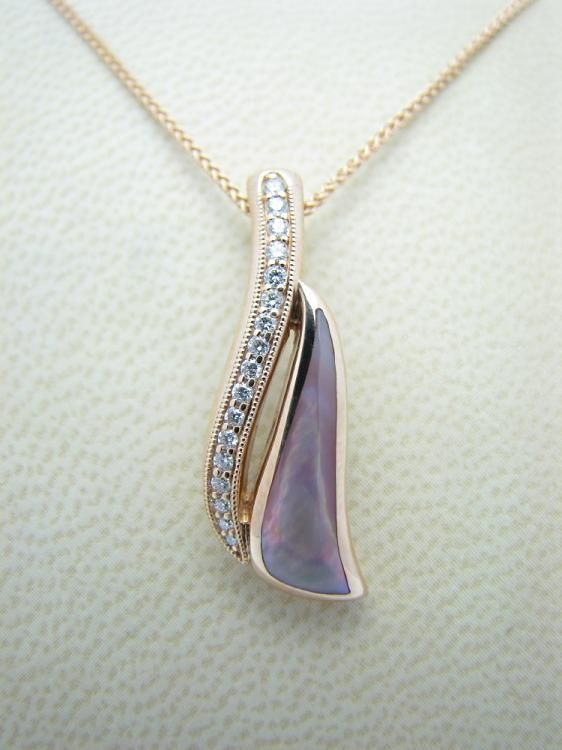 Kabana 14k Rose Gold Pendant with Inlaid Pink Mother of Pearl