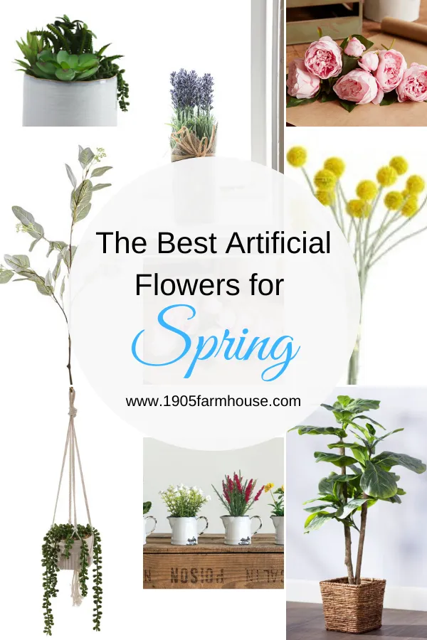 The best artificial flowers for Spring, a great way to add some color and texture to your home decor if you aren't a green thumb! #1905farmhouse #fauxflowers #artificialflowers #springdecor