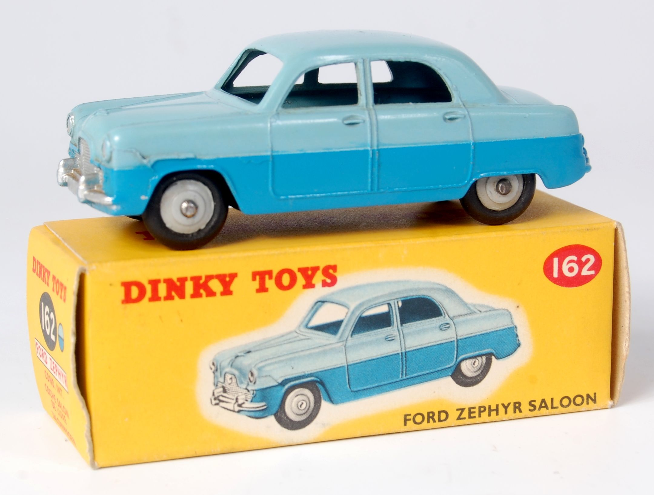 Lot 1929 Dinky 162 Ford Zephyr Saloon Two Tone Blue Grey Hubs