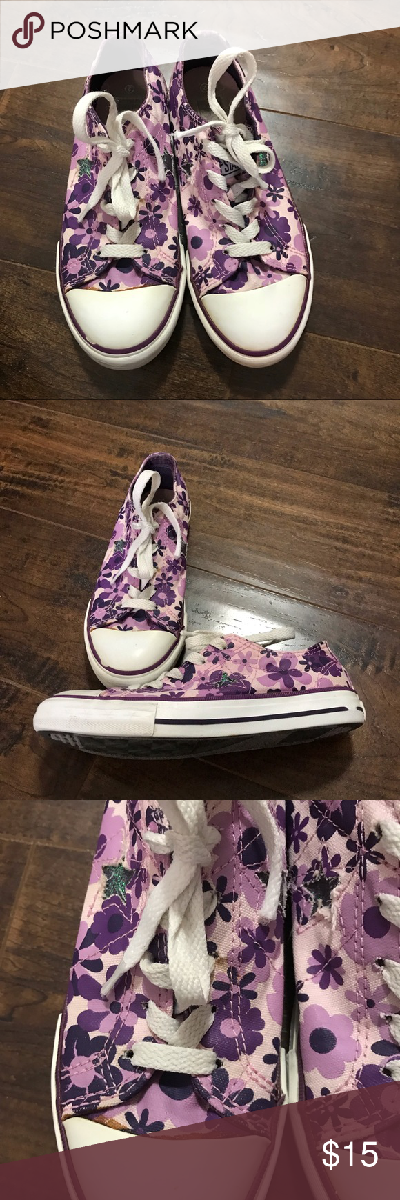 aa26fea54aaa Girls size 2 Converse One Stars Girls size 2 Converse One Stars. Cute purple  flower print. Signs of wear as shown in pics.