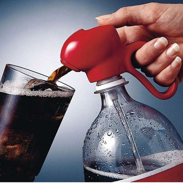 """Fizz Keeper Soda Dispenser ($12 USD 2 pack) ~   """"Just say no"""" to flat soda with The Fizz-Keeper Soda Dispenser,  with a patented straw design that screws on to 2-liter bottles and keeps an airtight seal.  When you're ready to serve your favorite drink, just aim the nozzle into the glass, press the lever and fill!   Perfect for parties and spill-proof for kids.  To clean, just hold the straw under a stream of water and squeeze the handle to open position."""