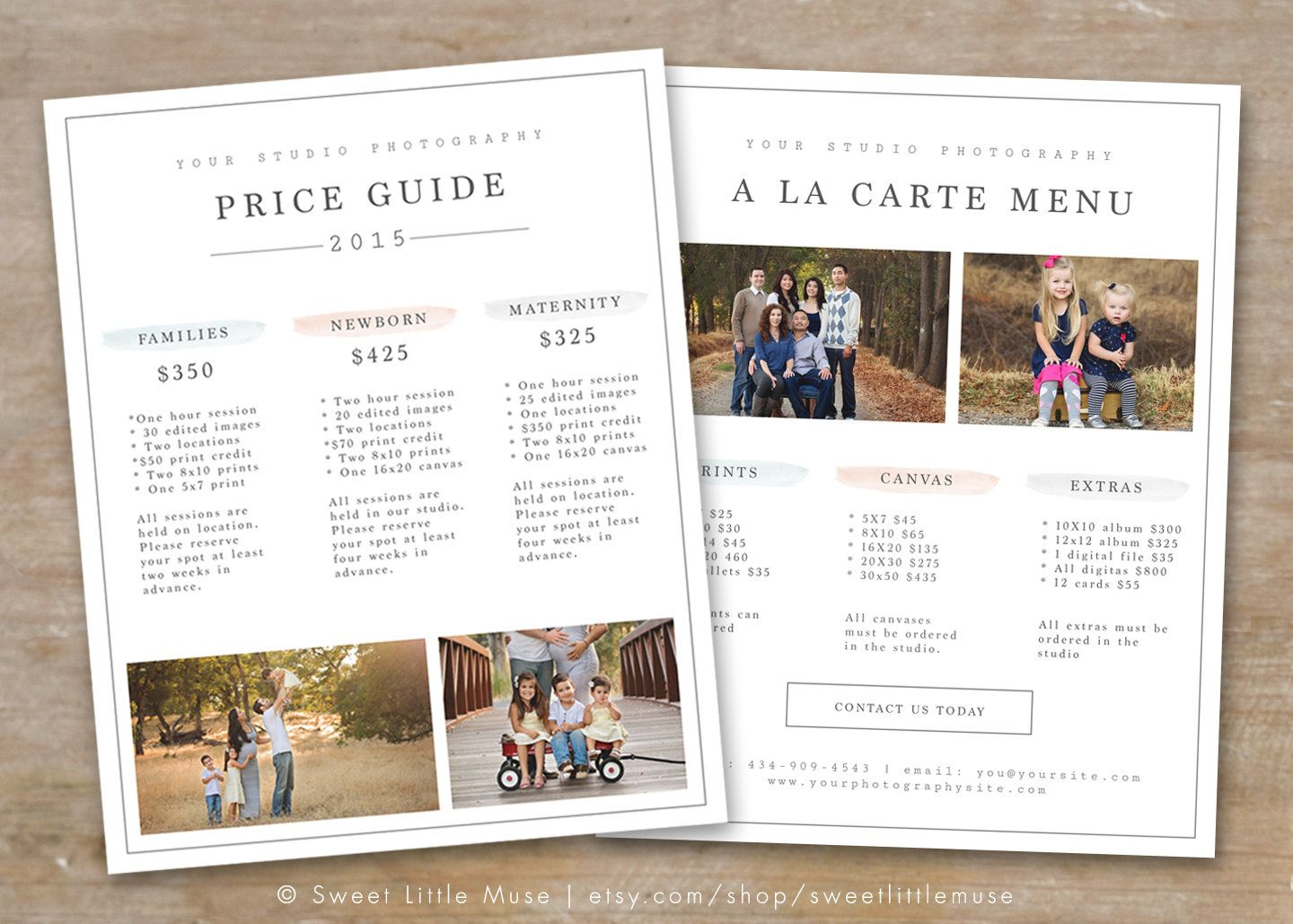 Photography Price List Template - Photography Pricing ...