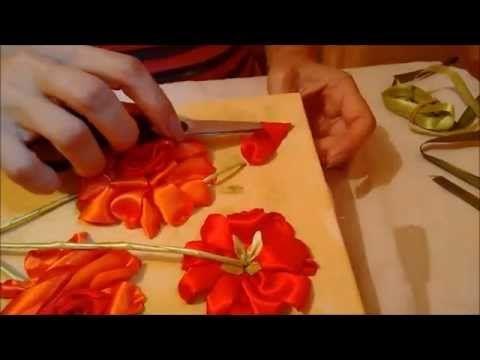 Quadro rosas de cetim parte 2 - passo a passo - YouTube