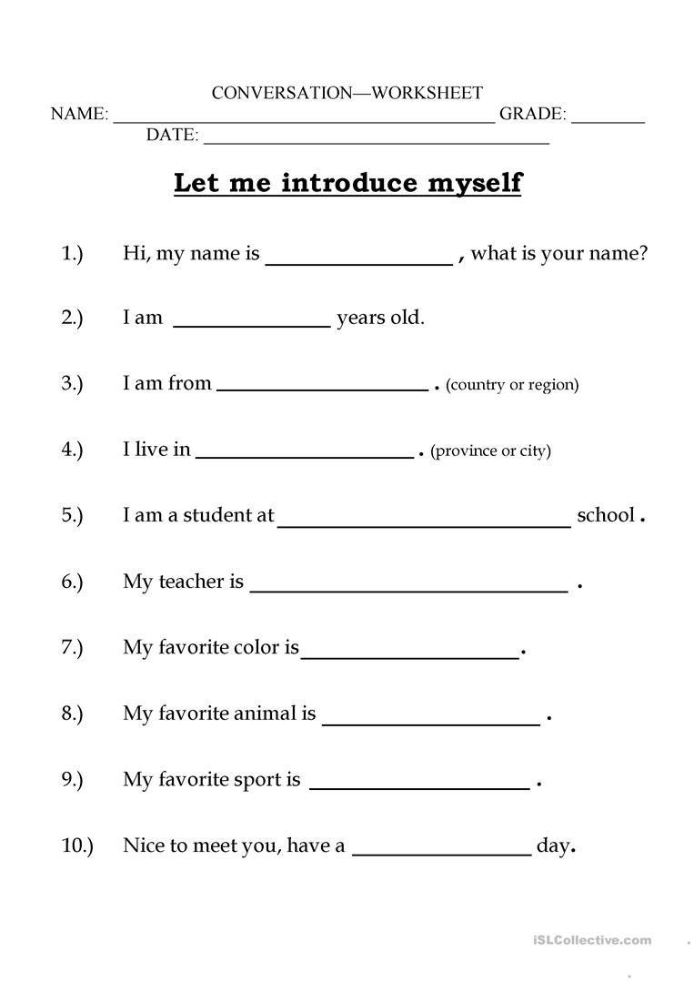 Let me introduce myself worksheet - Free ESL printable worksheets made by  teachers   English worksheets for kids [ 1079 x 763 Pixel ]