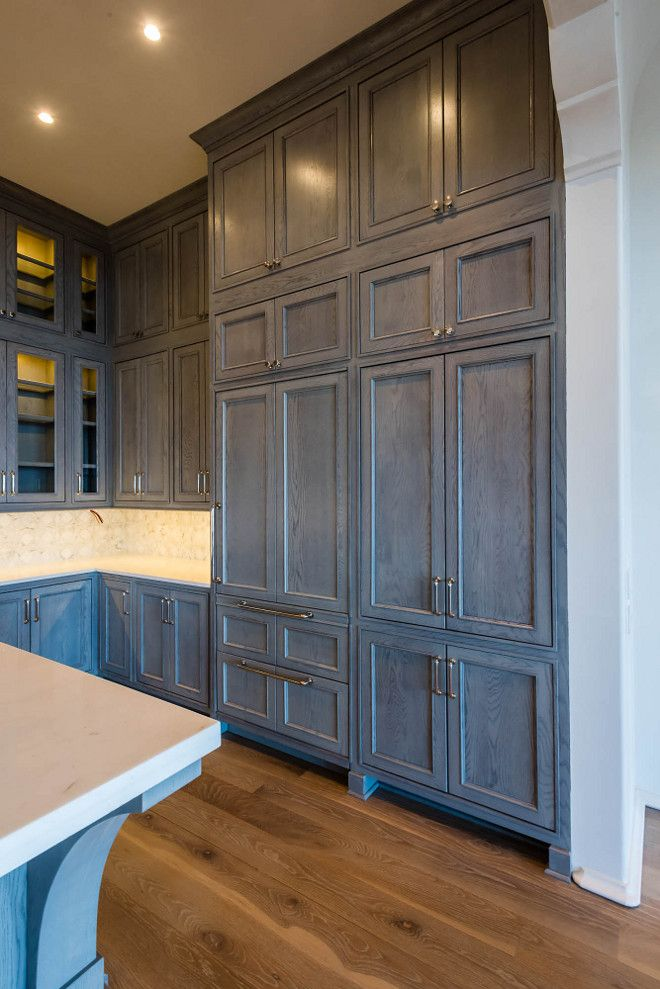 pantry / refer idea cabinet color :) … | Gray stained ...