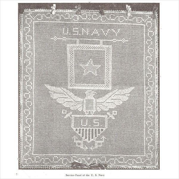 Vintage 1921 Us Navy Service Panel Emblem In Filet Crochet Pattern