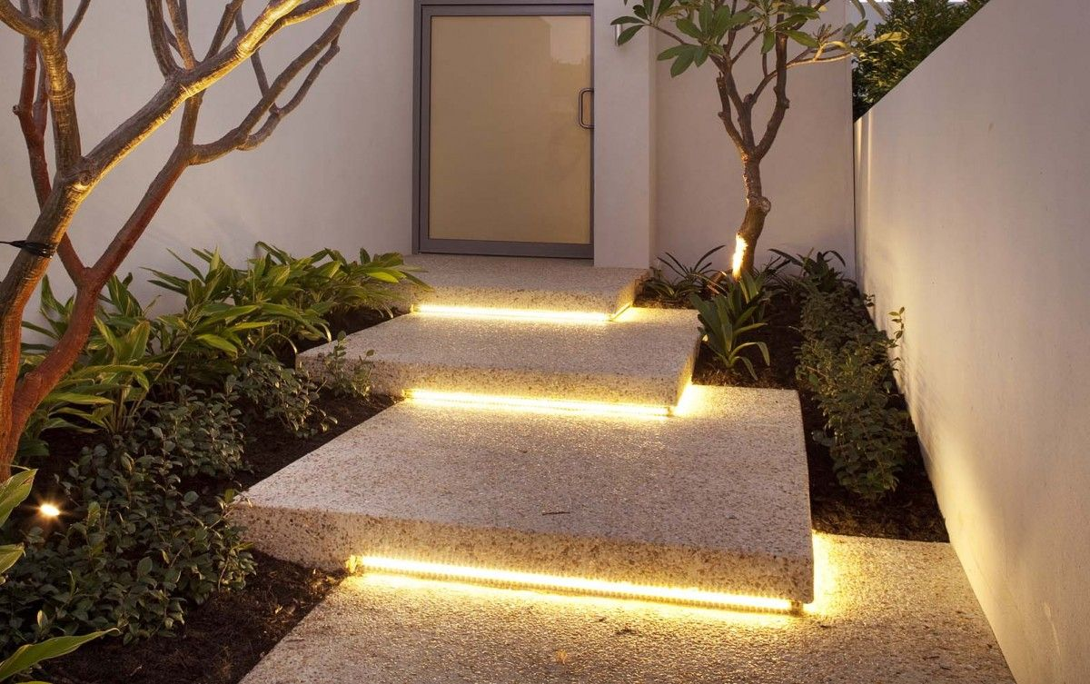 Nice lighting its coming from everywhere and i bet at night it will negative lighting i framing the outside of a step with led strips original and spectacular cool idea for minimal but effective lighting design workwithnaturefo