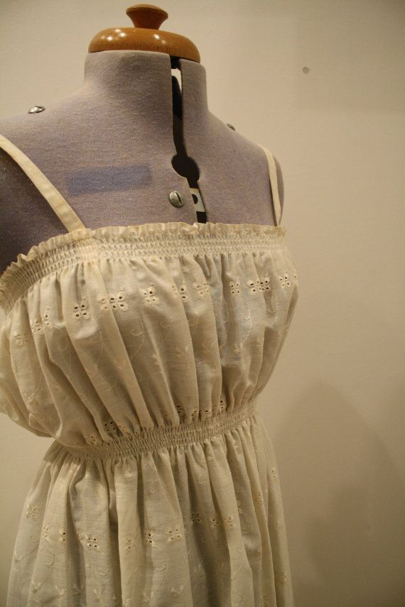 70s cream broderie anglaise maxi dress by bobosemporium on Etsy, £10.00