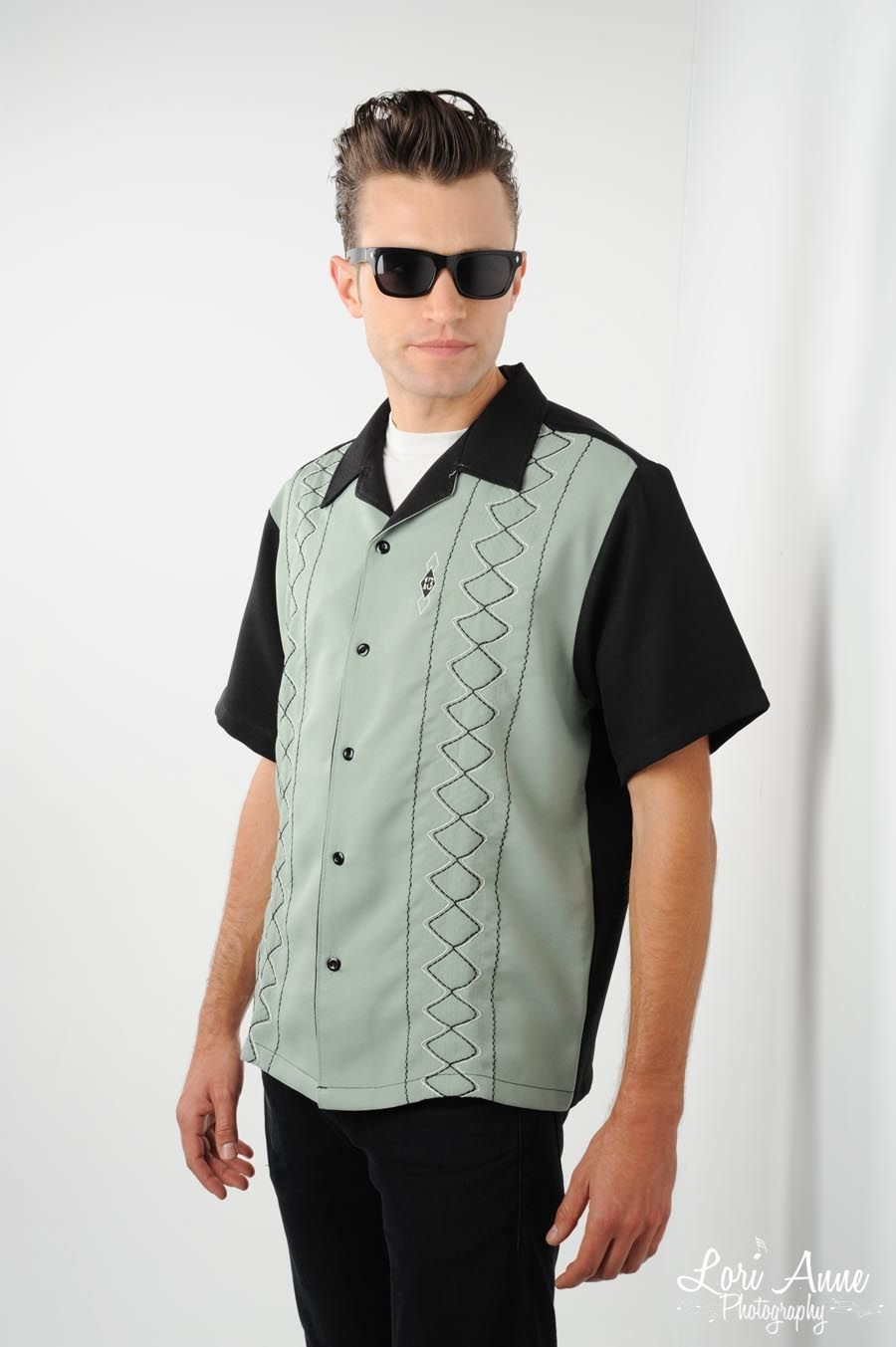 Agenda Mens Lounge Shirt in Black and Sage - These American made classic button-down lounge shirts look sharp while remaining comfortable, perfect for your retro guy!  The front panels feature attractive stitching on sage green crepe and a small 13 logo.