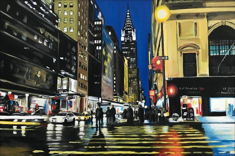 Angela Wakefield Painting Of Chrysler Building New York City By