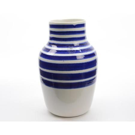 "14"" Seaside Treasures Decorative White Vase with True Blue Stripes"