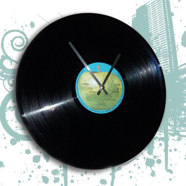 Vintage Beatles Vinyl Apple Label Lp Record Clock For