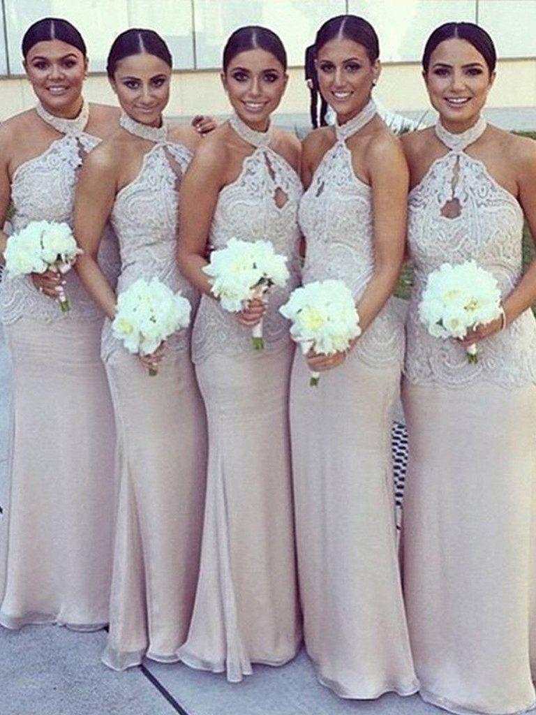 Sexy bridesmaid dresses halter sheathcolumn chiffon long bridesmaid