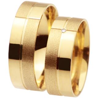 a697d1660b4 Alianças em ouro amarelo 18k 750 ALB97 Modelo - Aliança Anatômica  Trabalhada Peso Médio –12 gr (O Par) Pedras  1 Brilhante de 1 ponto (na  feminina) Largura ...