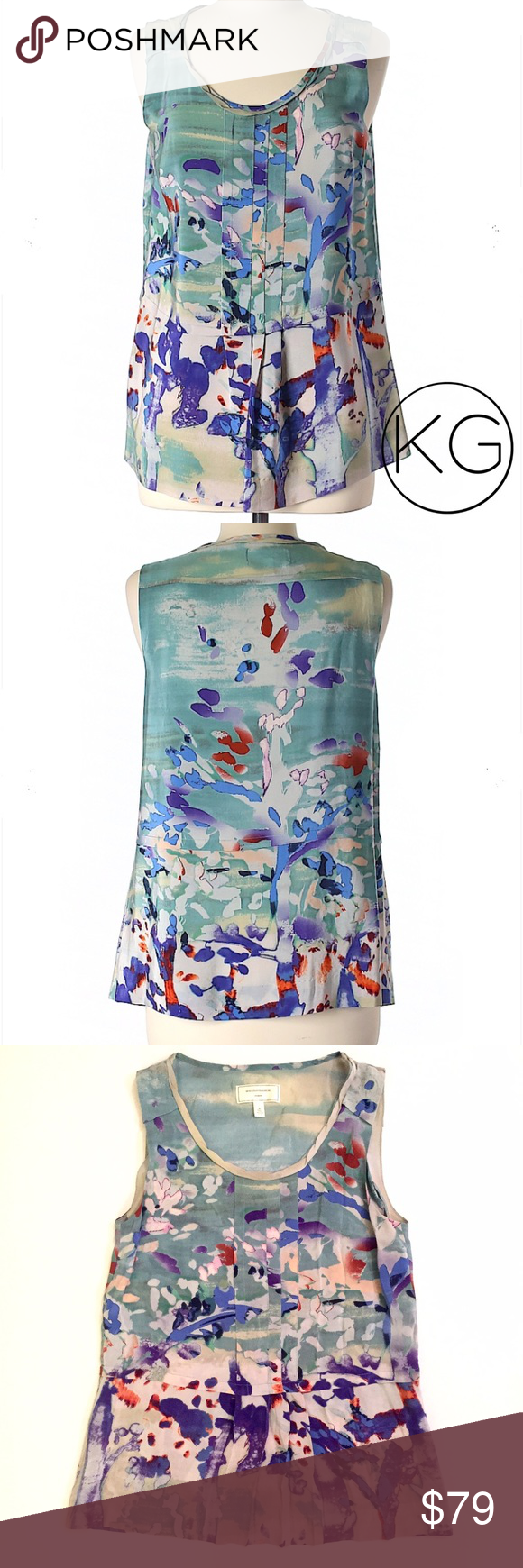 """Anthropologie Watercolor Print Silk Blouse In excellent pre-owned condition! •Moulinette Soeurs •Women's size 0 •100% Silk •17"""" from underarm to underarm, 25"""" from shoulder to hem •Sleeveless, scoop neck, printed silk  •Retail $208 no trades nor lowball offers Thank you for shopping in my closet! Anthropologie Tops Tank Tops"""