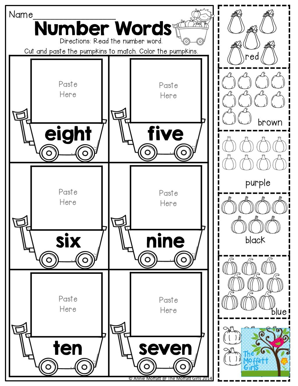 Number Words Count Cut And Paste Tons Of Fun Printables