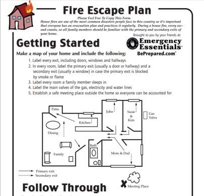 Fire escape plan printable survival tutorials ideas for House fire safety plan