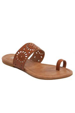 Flats Sizes 9+ - Beyond the Rack Jalila - Laser Cut Toe Loop Flat Sandals (camel)