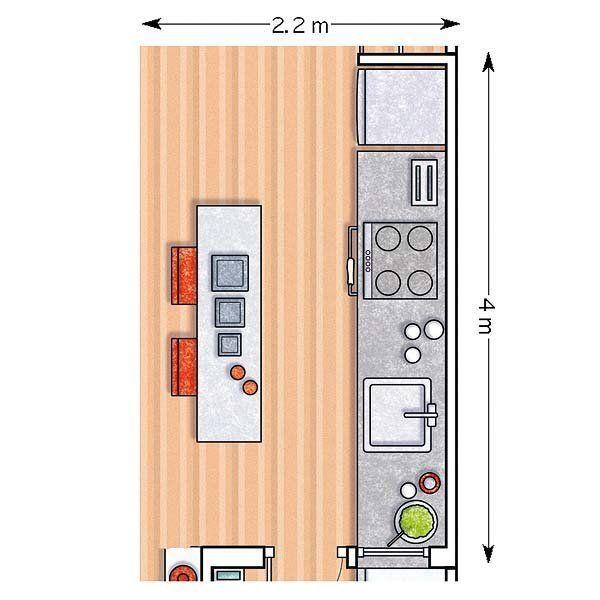 Resultado de imagen para plano cocina isla central casa for Planos para cocinas pequenas