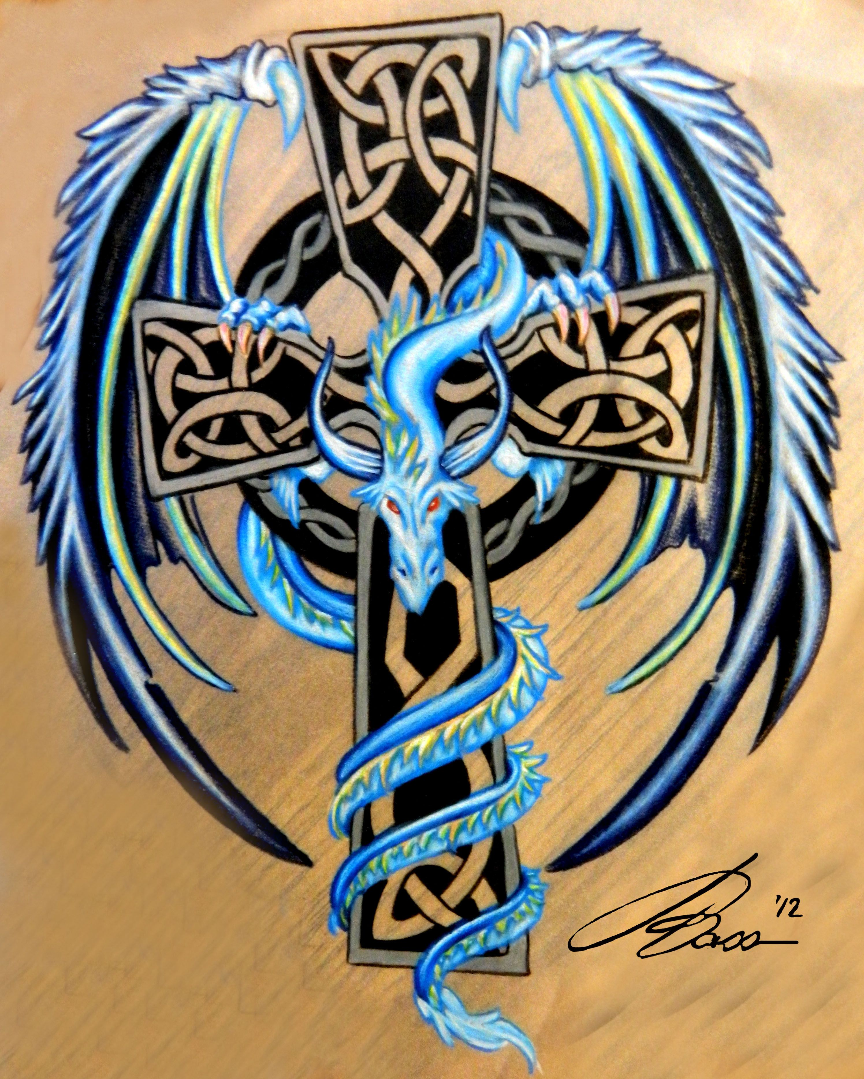 celtic cross dragon tattoo images galleries with a bite. Black Bedroom Furniture Sets. Home Design Ideas