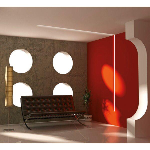 luminaria lineal integrada en pared y techo con iluminacion led