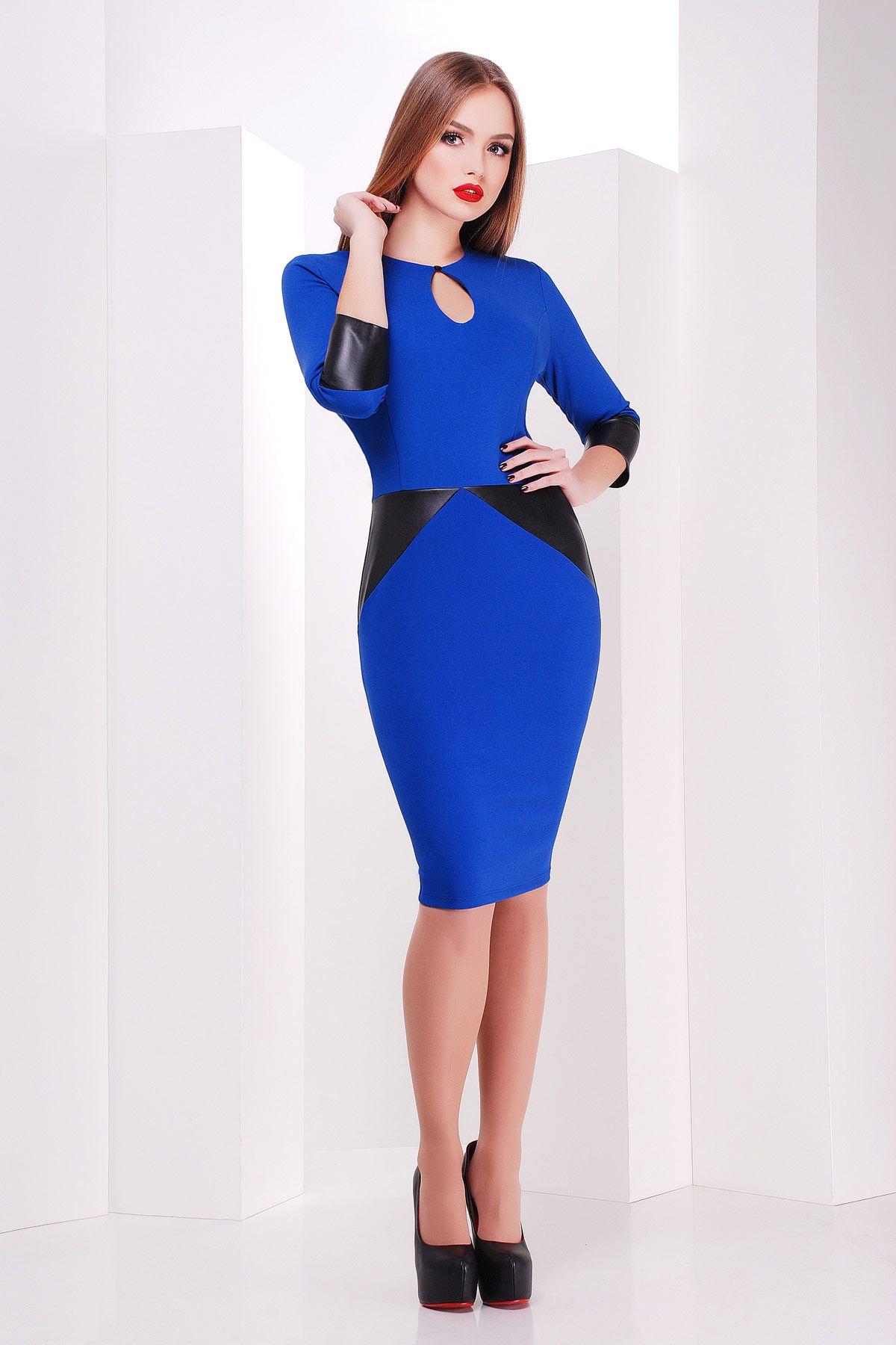 ddd5e376c6f Платье цвета электрик на весну-лето со вставками из черной экокожи. платье  Макбет д