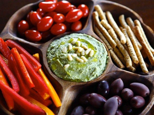 White Bean Basil Pesto Hummus - Healthy and Delicious Mediterranean-Inspired Recipe