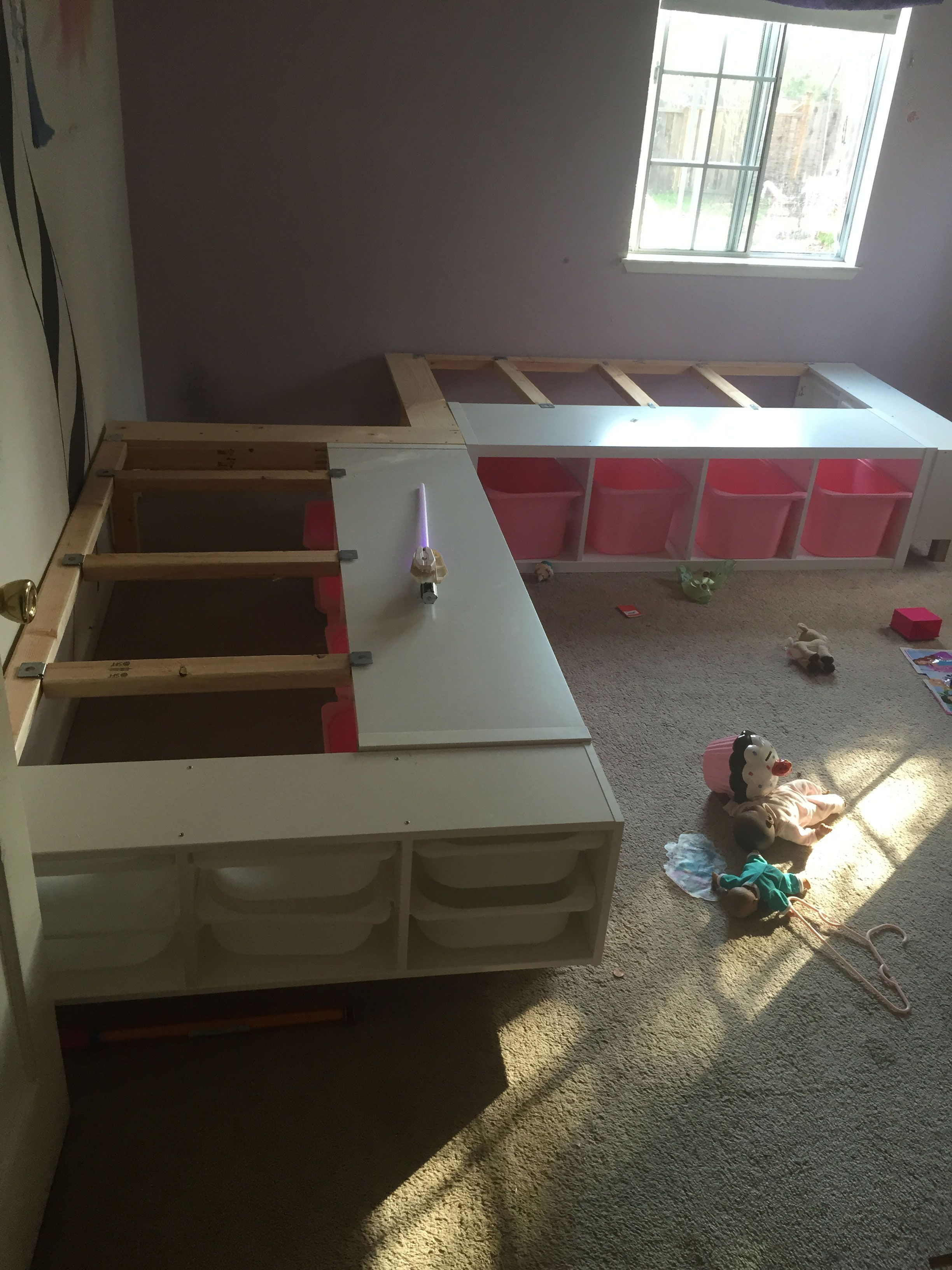 This week I finished a custom corner bed frame for my two daughters who