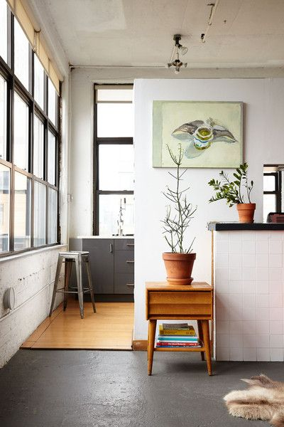 A masculine, industrial kitchen space in Brooklyn, New York.