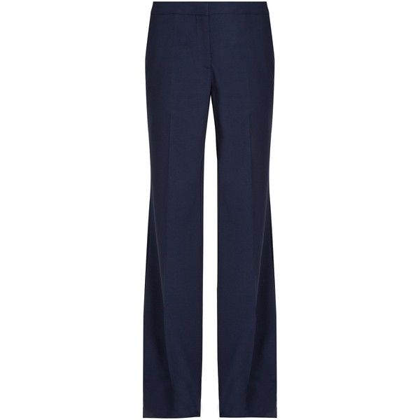 Diane Von Furstenberg Katara trousers ($298) ❤ liked on Polyvore featuring pants, suit, diane von furstenberg pants, wide leg pants, blue pants, blue wide leg pants and blue trousers