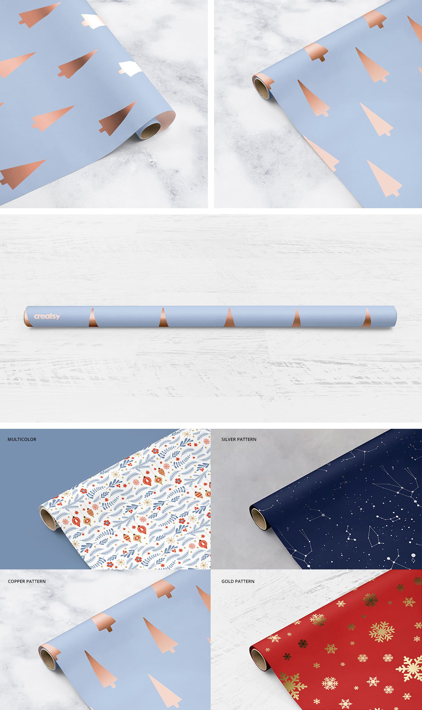 Gift Wrapping Paper Mockup Set Gift Wrapping Paper Wrapping Paper Design Paper Mockup