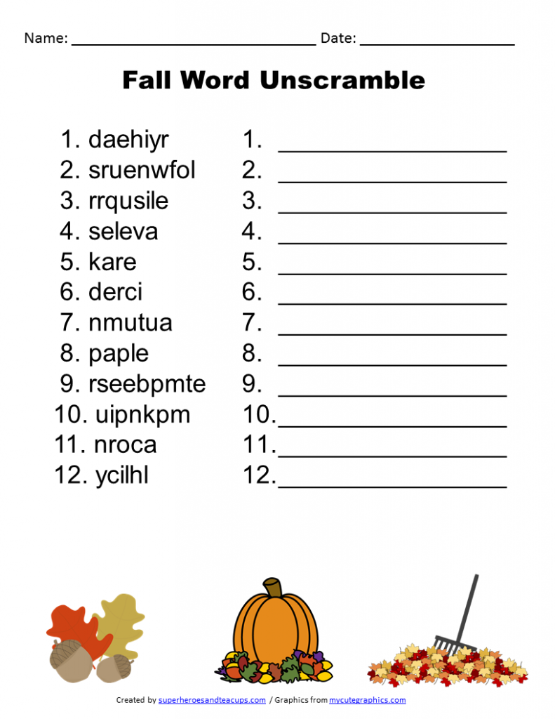 Free Printable Fall Word Unscramble Games For Senior Adults