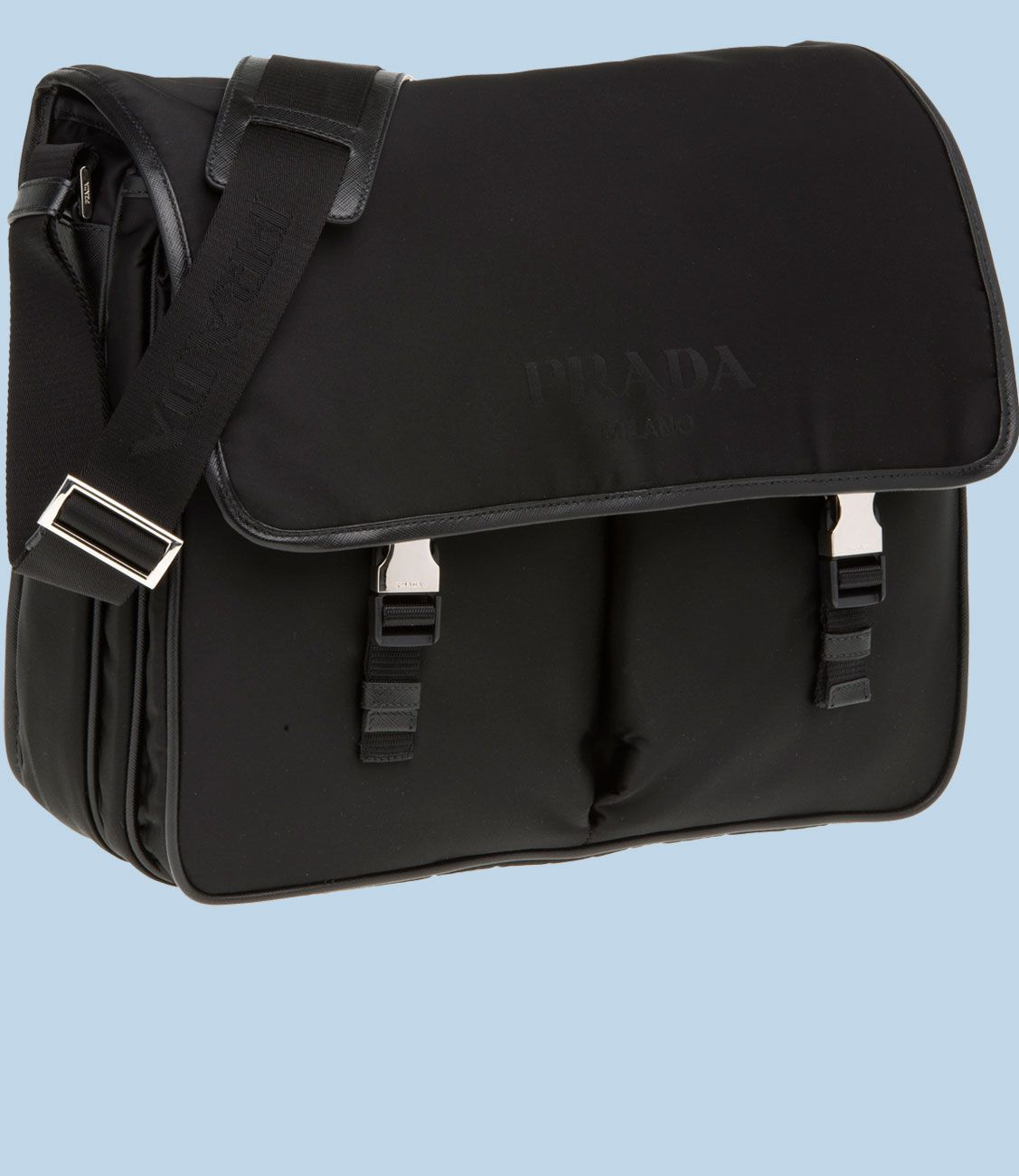 Prada Handbags | Prada mens fabric messenger bag with saffiano ...