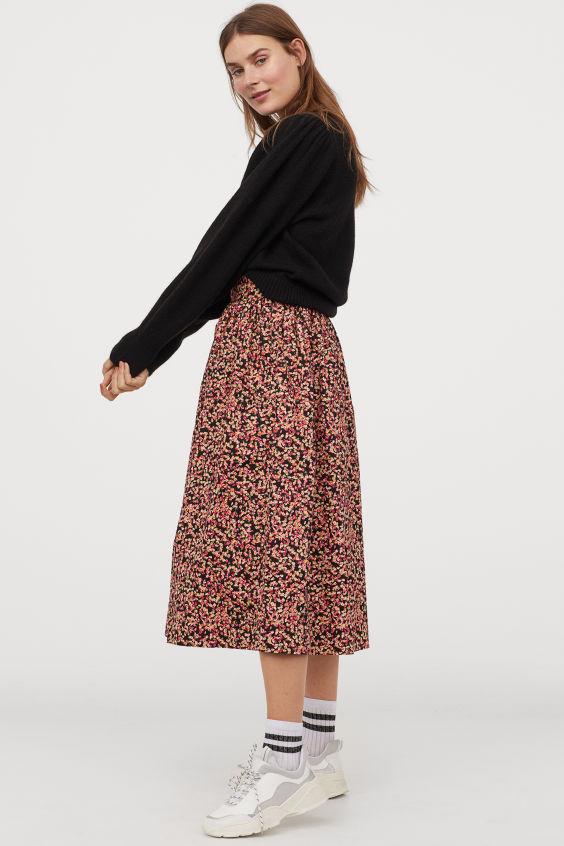 Flared Skirt - Black/pink floral -   H&M US