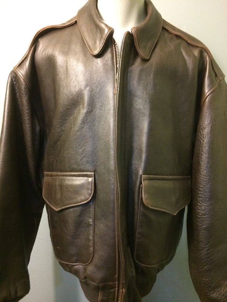 96f6594c1d1 Vtg 40s Style A-2 Bomber Jacket Cockpit Leather WWII Pilots Flight Mens USA  XL  Cockpit  FlightBomber