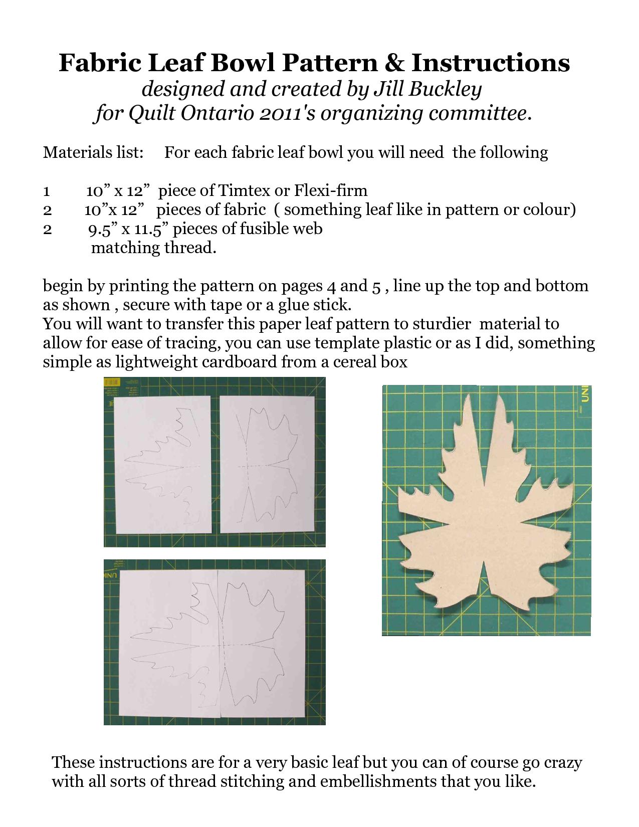 Diy Fabric Leaf Bowl Pattern