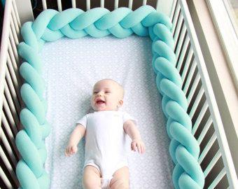 Braided Crib Bumper - Knot Pillow, Knot Cushion, Decorative Pillow, Bolster, Crib Bedding, Crib Sheets, Baby Bedding, Baby Shower Gift