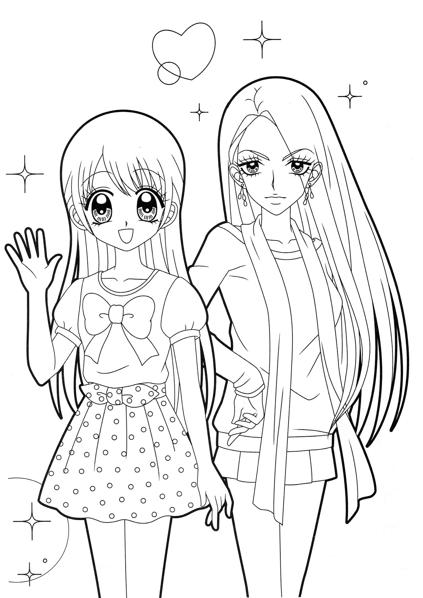 Two Girls Coloring Pages For Girls Cool Coloring Pages Cartoon Coloring Pages [ 1957 x 1384 Pixel ]