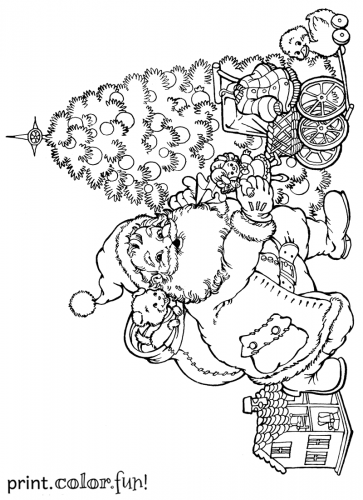santa putting presents under the christmas tree printable coloring page