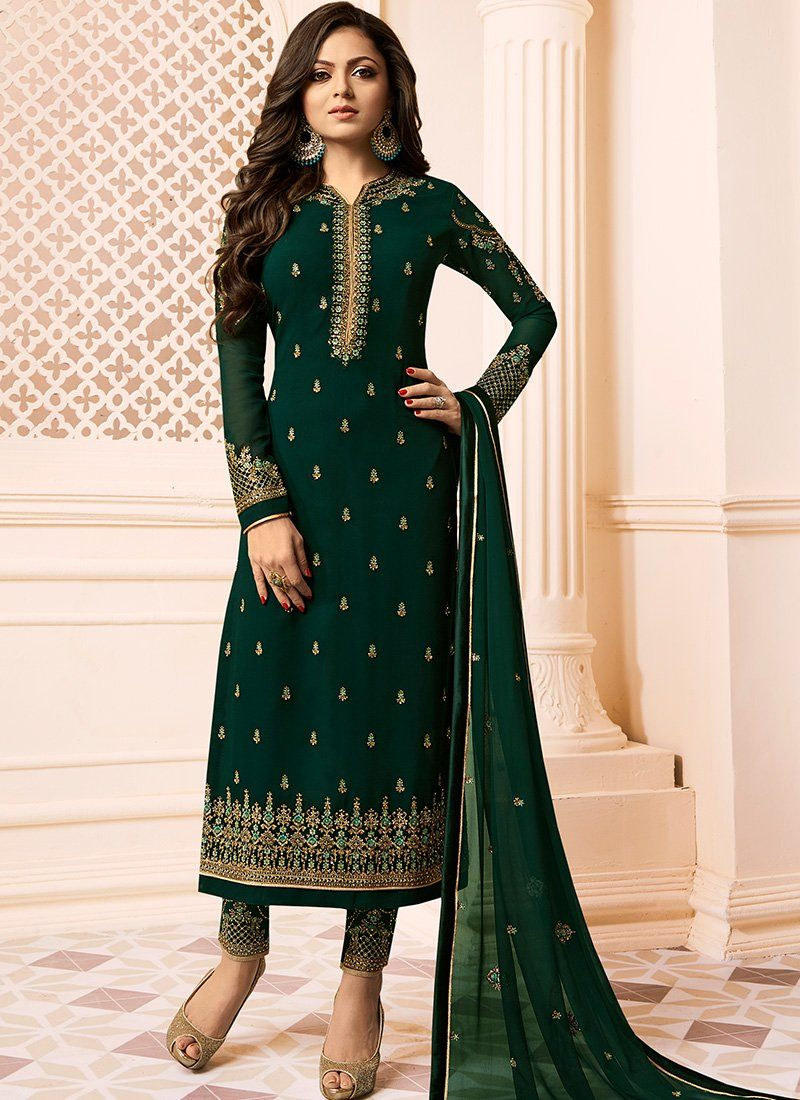 87905c6402 Dark Green Embroidered Straight Suit | Desi style | Fashion pants ...